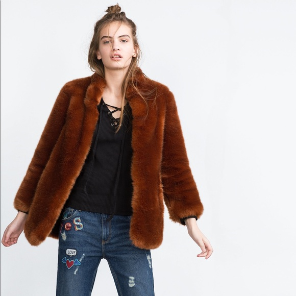 352e5b91caab Zara Jackets & Coats | Rust Color Faux Fur Coat | Poshmark